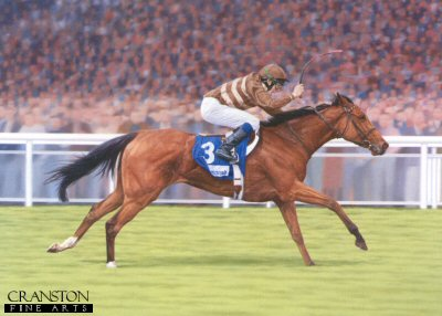 SFA24.  Gossamer by Stephen Smith. <p>Winning the Irish 2,000 Guineas at the Curragh.  <b><p>Signed by <a href=profiles.php?SigID=2246>Jamie Spencer</a> and <a href=profiles.php?SigID=2247>Luca Cumani</a>.<p>Limited edition of 275 prints.  <p> Image size 22.5 inches x 15 inches (57cm x 38cm)