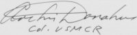 The signature of Colonel Archie G Donahue USMC (deceased)
