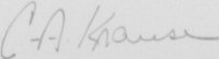 The signature of Flight Lieutenant Charles A Krause