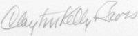 The signature of Captian Clayton Gross (deceased)