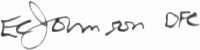 The signature of Flight Lieutenant Edward Johnson (deceased)