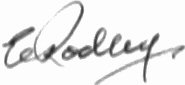The signature of Wing Commander Ernest Rodley DSO DFC AFC AE (deceased)