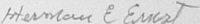 The signature of Lieutenant Colonel Herman Ernst (deceased)