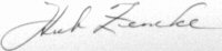 The signature of Colonel Hub Zemke (deceased)
