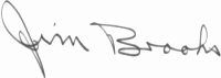 Photograph of the signature of Captain Jim Brooks