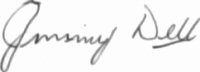 The signature of Jimmy Dell OBE (deceased)