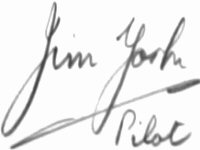 The signature of Flying Officer Jim York DFC