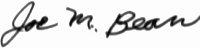 The signature of Lt Col Joe M Bean USAF