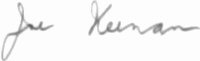 The signature of Stf Sgt Joseph Joe Keenan