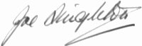 The signature of Wing Commander Joe Singleton DSO DFC AFC
