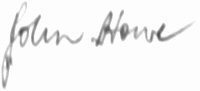 The signature of Air Vice-Marshal John Howe CB CBE AFC (deceased)