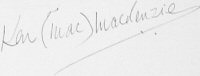 The signature of Wng Cmdr Ken Mackenzie (deceased)