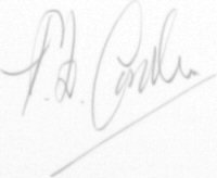 The signature of Squadron Leader Pat Carden DFC AE (deceased)