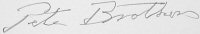 The signature of Air Commodore Peter Brothers CBE, DSO, DFC* (deceased)