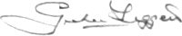 The signature of Squadron Leader P G Leggett