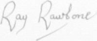The signature of Rear Admiral Ray Rawbone CB AFC RN