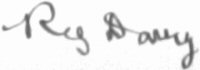 Photograph of the signature of Reg Davie