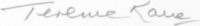 The signature of Wing Commander Terence Kane (deceased)