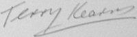 The signature of Squadron Leader T Kearns