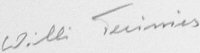 The signature of Matrosengefreiter Willi Treinis (deceased)