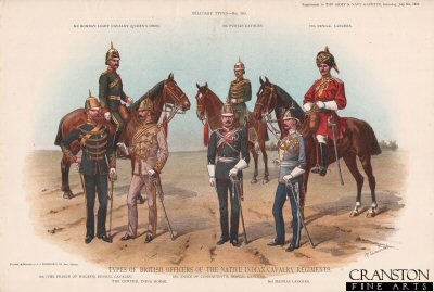 Types of British Officers of the Native Indian Cavalry Regiments by Richard Simkin