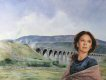 CC205. Female portrait with Railway viaduct by Chris Collingwood. ......