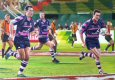 Caleb Ralph receives the pass from Thinus Delport to score the winning try in the Xodus Steelers' victory over Christina Noble Foundation team in the International Veterans Tens Tournament in Dubai, 2012.  After the final klaxon, and from a brea......
