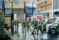 45 Commando Royal Marines performed the role of the Belfast Roulement Battalion from 2nd July to 10th November 1986.  This painting depicts a foot patrol setting out from Springfield Road RUC Station.  The RUC Station at Springfield Road was 45 Comma......