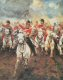 Centre detail from the painting Scotland Forever showing the charge of the Scots Greys at Waterloo.