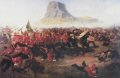 On the 11th January 1879, a British Force under the command of Lord Chelmsford crossed the Buffalo River into Zululand.  A small garrison was left at Rorkes Drift.  The force consisted of 1600 British troops, mainly from the 1st and 2nd Battalions 24th Regiment, and 2500 native soldiers.  A tented camp was established at Isandhlwana Hill.  At 4am on the morning of 22nd January, Lord Chelmsford took half his force to reconnoitre to southeast in search of main Zulu army.  Just after 8am a force of 25000 Zulu warriors attacked the remainder of the force in the camp.  Surprised, outnumbered by more than six to one, in a position offering little defence, the defenders were soon overpowered and a dreadful slaughter ensued.  A few men escaped and re-crossed the Buffalo River to safety.  Victoria Crosses were awarded to Lieutenants Melvill and Coghill, who saved the Queens Colour of the 1st/24th and to Private Wassell, 90th Foot, who saved a comrade while escaping across the Buffalo River.