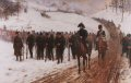 Craufurds Light Brigade, of which the 95th Rifles, the 43rd and 52nd, were part of, faces about once more to face the enemy, during the retreat from Spain of Sir John Moores Army. The Light Brigade fought a series of brilliant delaying tactics under the most adverse of conditions during the Peninsula War.