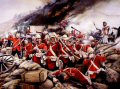 Men of the 24th of foot, or 2nd Warwickshire regiment (later in 1881 to become the South Wales Borderers) repel the massed Zulus attempting to smash through the mealie bag entrenchment. At the conclusion of the battle, hundreds of Zulus lay dead. According to official figures the British lost 25 men, 11 Victoria crosses were awarded.