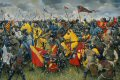 Battle of Crecy  26th August 1346. On 12th July Edward III landed in Normandy with his army and marching north plundered the countryside. King Philip VI assembled an army to stop Edward and tracked them across the Somme River. When Edward reached Crecy he stopped and ordered his army to take up defensive positions. King Philip surveyed the English positions and decided to postpone his attack until August 27th. However, the French vanguard pressed forward too far and so committed the entire army to the battle. The hired Genoese crossbowmen began the assault but came under severe attack from the English longbows and so fled to the rear. King Philip then ordered his cavalry to charge resulting in a huge loss of horse and man under the barrage of arrows which rained down on them. By the end of the night after several unsuccessful assaults the French army was reduced by a third and King John of Luxemburg was dead. Edward then turned towards Calais.