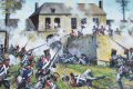 The fierce attack by the French infantry on Hougoumont Farm during the battle of Waterloo.