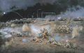 Zulu Company of the First Fusiliers Battle Group in the attack on Bridge 4, Basra, on the evening of 22nd March 2003.  I travelled to this spot in Sgt Jason Wellard's Warrior, and sketched the soldiers as they took up position here.  Jason, the ......