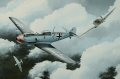 Depicting the No.19 Sqn Spitfire Mk.IIA of Flt Lt Walter Lawson attacking a�a Bf.109 E-4 of JG.3�in the Summer of 1940. The final tally of Lawson before he was listed as missing in August 1941 was 6 confirmed, 1�shared, 3 probables and 1 damaged.  The Bf.109 shown here was flown by Oberleutnant Franz von Werra. He survived this encounter, but was shot down over Kent in September 1940.
