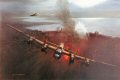 Mick Martin's Lancaster pulls away from the Möhne Dam, his Upkeep bomb exploding behind him sending a huge plume of water into the air.  Guy Gibson flies to his right drawing flak from the anti-aircraft guns on the towers. ......