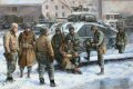 Bastogne, Ardennes, Belgium, 24th December 1944. Surviving U.S. tank crew from Task Force Cherry and Paratroopers of 101st Airborne Division take a break while awaiting orders for their next battle.  ......