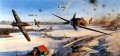 The success of Operation Bodenplatte, on January 1, 1945, was to be achieved by mass surprise attacks on British and American bases in France, Belgium and Holland. It was a battle fought at great cost to the Luftwaffe. During the battles some 300 Luftwaffe aircraft were lost. Though 200 Allied aircraft were destroyed, most on the ground, pilot losses were light. Nicolas Trudgians brilliant painting takes us right into the action above the Allied air base at Eindhoven. Me262 jets join a concentration of Me109s and Fw190s of JG-3 fighter wing, as they hurtle across the airfield in an assault that lasted 23 minutes, while Spitfires from 414 Sqn RCAF do their best to repel the attack. On the ground Typhoon fighters of 439 Sqn take a hammering.