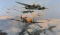 Robert Taylors final painting in his 60th Anniversary trilogy features a scene from the attacks on the afternoon of September 7, 1940. Led by Herbert Ihlefeld, Me109Es of II/LG 2 dive through the bomber formation giving chase to Hurricanes of 242 Sq......