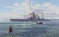 HMS Hood, Britains largest warship and pride of the Royal Navy, steams majestically through the Swept Channel on 22 May, 1941. Having fuelled at the Scapa Flow naval base in Scotland, she steers clear of floats suspending torpedo and submarine nets,......