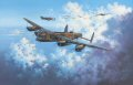 Piloted by RAAF skipper T.N.Scholefield, No. 467 Squadrons Lancaster S For Sugar, one of RAF Bomber Commands most famous Lancs, heads out on her 100th mission on May 11, 1944. Embellished with a bomb symbol painted on the fuselage signifying each raid completed, and the infamous Hermann Goering quotation No enemy plane will fly over the Reich Territory, the mighty bomber leads a formation bound for Germany. In total she completed 137 bombing raids. Today, beautifully restored, S For Sugar proudly rests in the RAF Bomber Command Museum at Hendon, London.