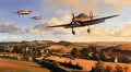 Hurricanes of 87 Squadron return to their West Country base after repelling attacks by Luftwaffe bombers on nearby aircraft factories, August 1940. Flight Lieutenant Ian Gleeds Hurricane, in which he scored 20 victories, leads the Squadron pilots back to base to refuel, re-arm, and get airborne without delay. <br><br><b>Published 2000.<br><br>Signed by three famous Hurricane pilots who fought in the Battle of Britain.  These are three fantastic rare  signatures to have on one art print  and sadly all three have since passed away.</b>