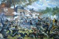 Depicting Jeromes Infantry attacking the South gate of the Chateau during the battle of Waterloo.