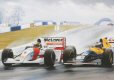 The 1993 European Grand Prix, held at the refurbished, historic race circuit of Donington Park in Leicestershire on a soggy Easter Sunday, was one of the most remarkable races in the history of Formula One.  It produced what is generally accepted to be the Lap of the Century.  After having been seriously outclassed in practice by Prost and Hill in the Williams and narrowly by Schumacher's Benneton, Senna found himself in fourth place on the grid.  As the race started and the sprint for the first corner got under way, Prost and Hill streaked away whilst a battle developed between Senna and Schumacher.  As the Benneton cut across Senna's line he took avoiding action which let the Sauber of Wendlinger through into third place and pushed Senna into fifth out of the first corner.  With grim determination Senna reacted immediately.  He quickly forced his way past Schumacher and taking to the wet part of the track made a dramatic flat-out overtaking pass on Wendlinger through the fast Craner Curve.  At McLeans he was already on the tail of Hill who was still grappling with the wet conditions.  Senna pushed through on the inside and by the time the Esses came up for the first time he was amazingly up behind Prost.  With the slow Melbourne Hairpin coming next, Senna again did the unthinkable and took the wet line, surprising and outbraking Prost.  As our picture shows, he dived through on the inside to take the lead.  In less than one lap Senna had achieved the impossible, climbing from fifth to first place, and went on to win one of the most memorable races in the history of F1.