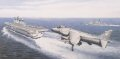 Produced with the co-operation and agreement of 801 Naval Fighter Squadron, Yeovilton, the picture clearly demonstrates the skills of the aircrew and ship crew as a Sea Harrier lines up to land on HMS Illustrious.  801 Squadron was the last to opera......