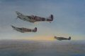 In Gerald Coulsons fine study First Light, Mk Vb Spitfires of 92 Squadron climb out of Biggin Hill at the outset of an early morning patrol on a cold winters morning in February 1941. Leaving the mist behind as the first beams of light streak across the heavens, they will turn to the east and steel themselves to meet the enemy, high in the dawn sky.