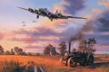 B-17 Fortresses of the Bloody Hundredth- the Eighth Air Forces 100th Bomb Group - return to Thorpe Abbotts following a raid on enemy oil refineries, September 11, 1944. Nicolas Trudgians moving tribute to the Bloody Hundredth shows the imaginatively named B-17, Heaven Can Wait, on final approach to Thorpe Abbotts after the intense battle on September 11, 1944. Skilfully piloted by Harry Hempy, the seriously damaged B-17G has struggled 500 miles home on two engines to make it back to England. They lost their tail gunner that fateful day. Below the descending bomber stream, an agricultural traction engine peacefully ploughs the wheat stubble in preparation for next year&#39;s vital crop, the farm workers oblivious to the unimaginable traumas so recently experienced by the crews of the returning B-17 Fortresses. <br><br>Signed by four pilots and crew who flew with the 100th Bomb Group in Europe during World War II.  <br>Published in 1999 - Issue price was &pound;120.