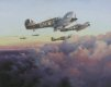 A scene played out daily by Fighter Command squadrons throughout the defining air battles fought in the summer of 1940. Mk I Hurricanes of 249 Squadron are seen returning to North Weald after heavy action over London during the culmination of the Ba......