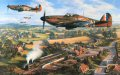 MK1 Hurricanes of No. 601 Squadron refueled and rearmed, climb to rejoin the battle during the summer of 1940. As the great air battle rages high above, life goes in the countryside as a Southern Railway train pulls out of a local village station, c......